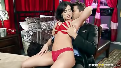 Madam in red lingerie gets drilled