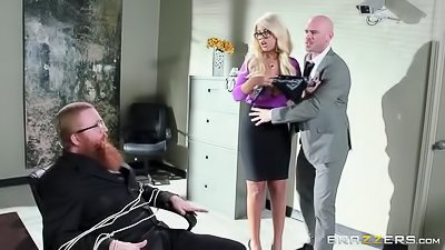 Blonde secretary screws her sexy boss