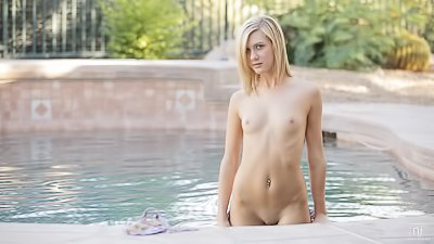 Sweet blonde is enjoying gentle solo