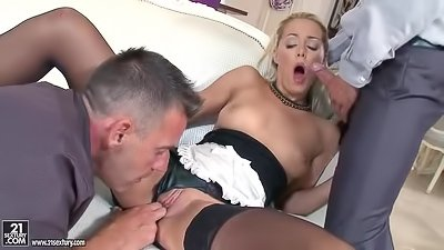 Slutty maid gets deep double penetration
